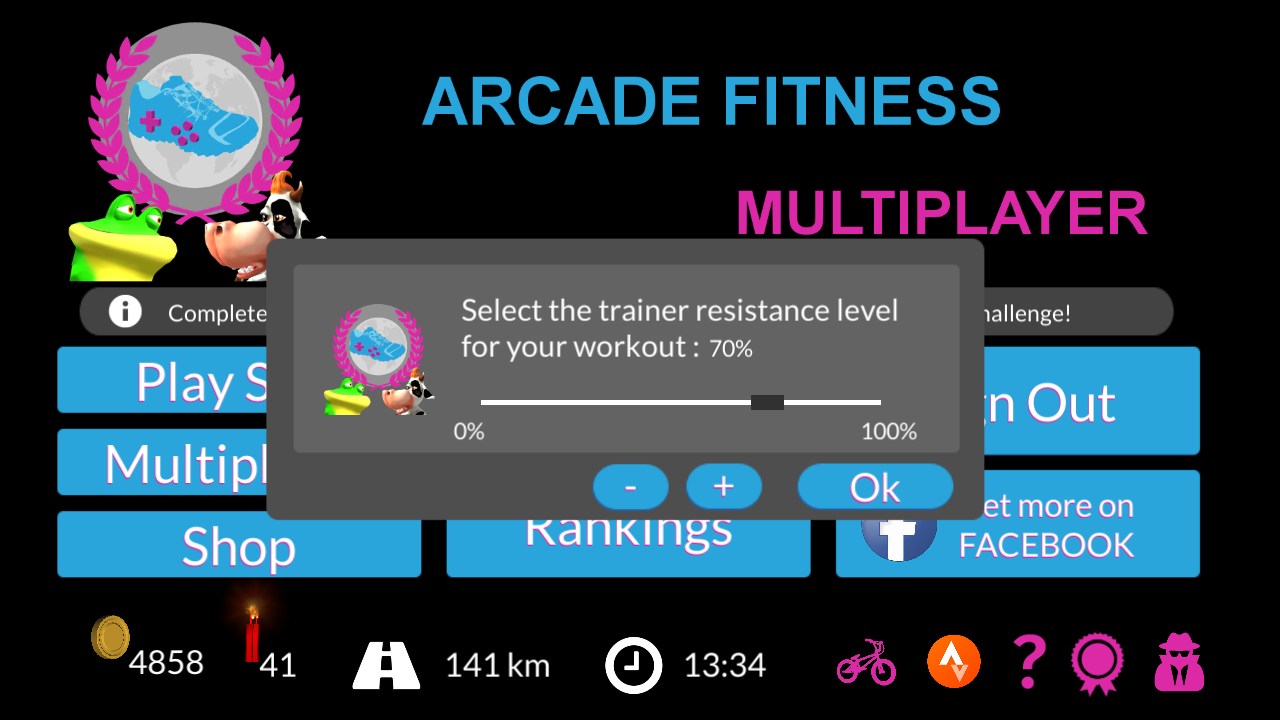 Arcade Fitness with ANT+ FE-C Trainer