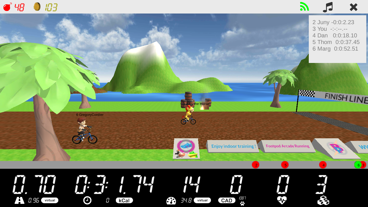 Indoor cycling with Arcade Running