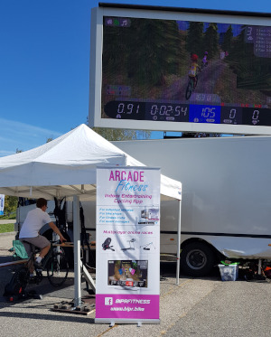 Arcade Fitness at La Forestiere 2019 on big screen