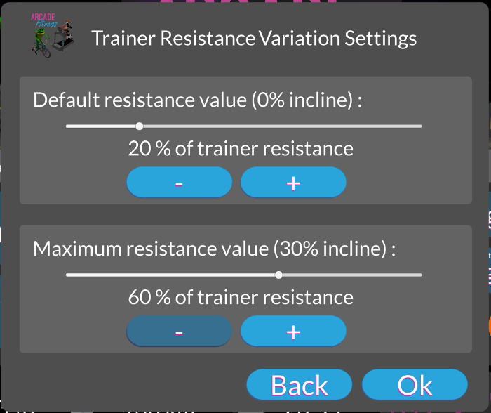Arcade Fitness Resistance Variations Settings